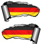Small Pair Ripped Torn Metal Gash Design & Germany German Flag Vinyl Car Sticker 93x50mm each